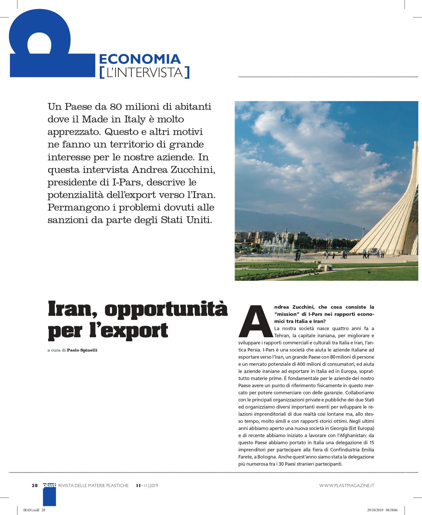 I-Pars intervista Plast magazine settore plastico IPars I Pars Italia Iran import export polimeri plastica