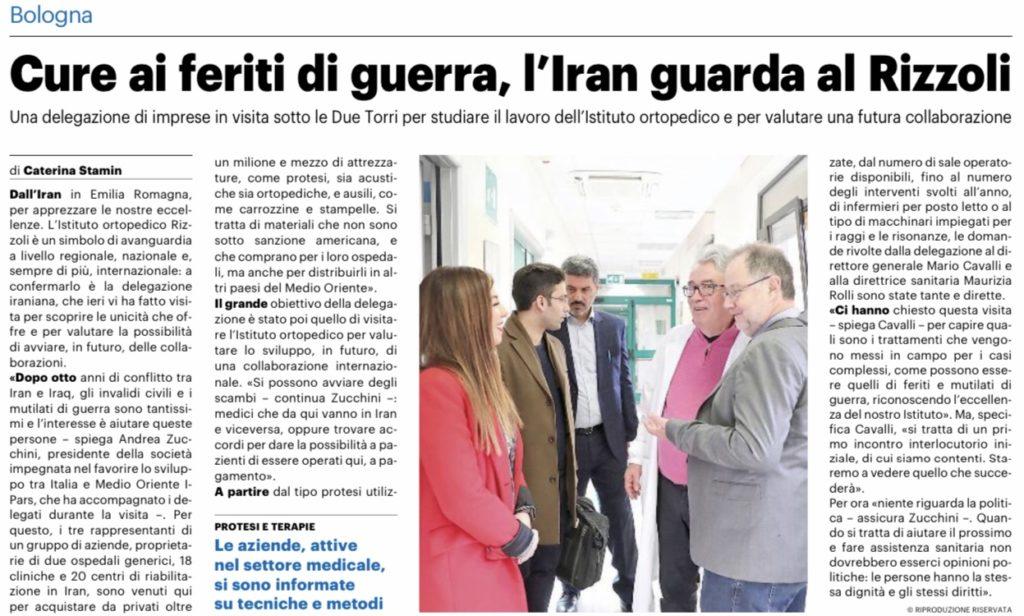 Cure ai feriti di guerra, l'Iran guarda al Rizzoli Bologna Resto del Carlino I-Pars Ipars I pars Iran Italia Sanità