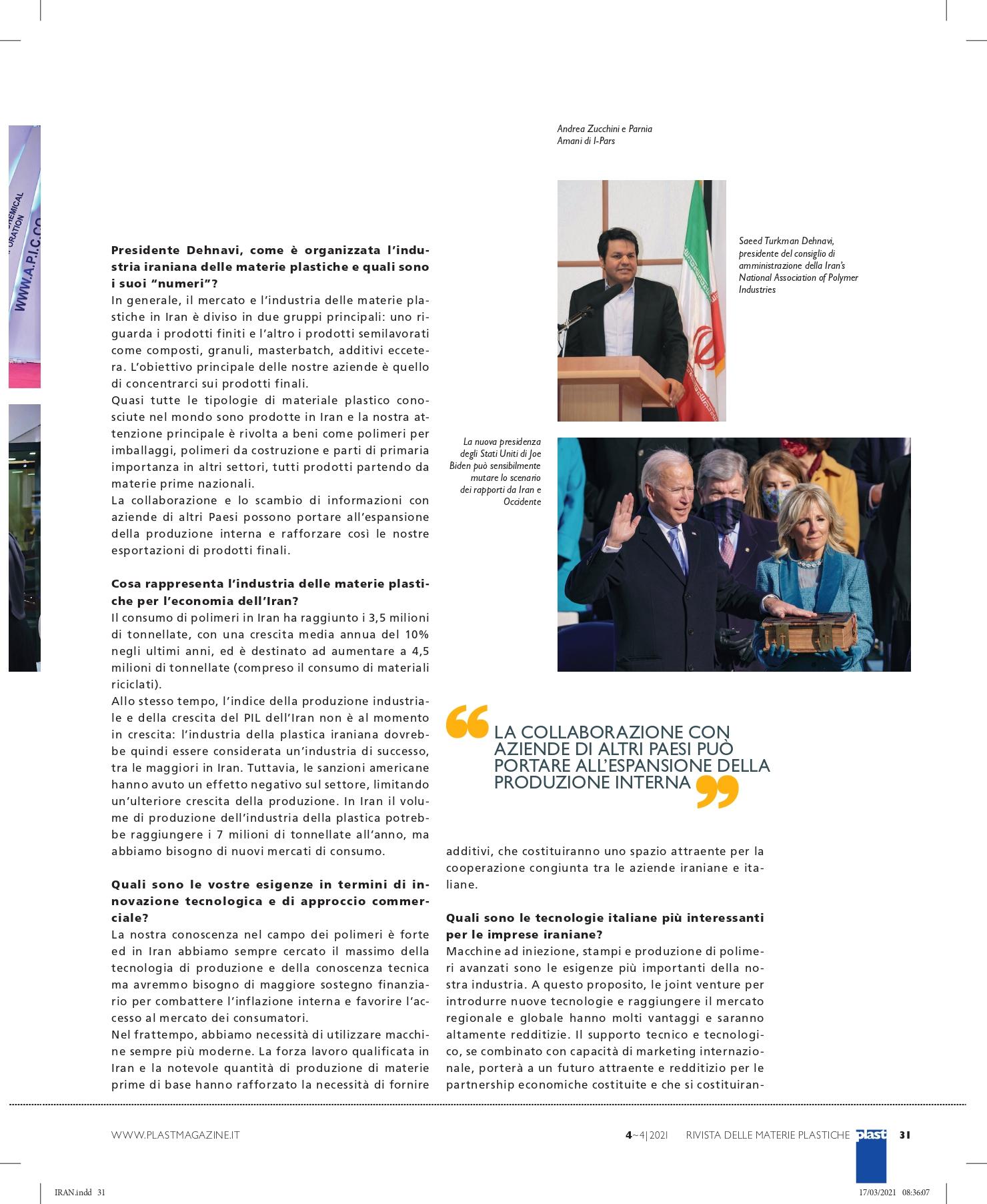 Plast Iran c'è spazio per le aziende italiane intervista I-Pars I Pars Andrea Zucchini Parnia Amani Iran Italia plastica materie plastiche polimeri